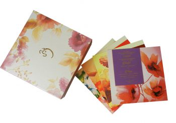 Golden Pink Sweet Box and Wedding Invitation Card