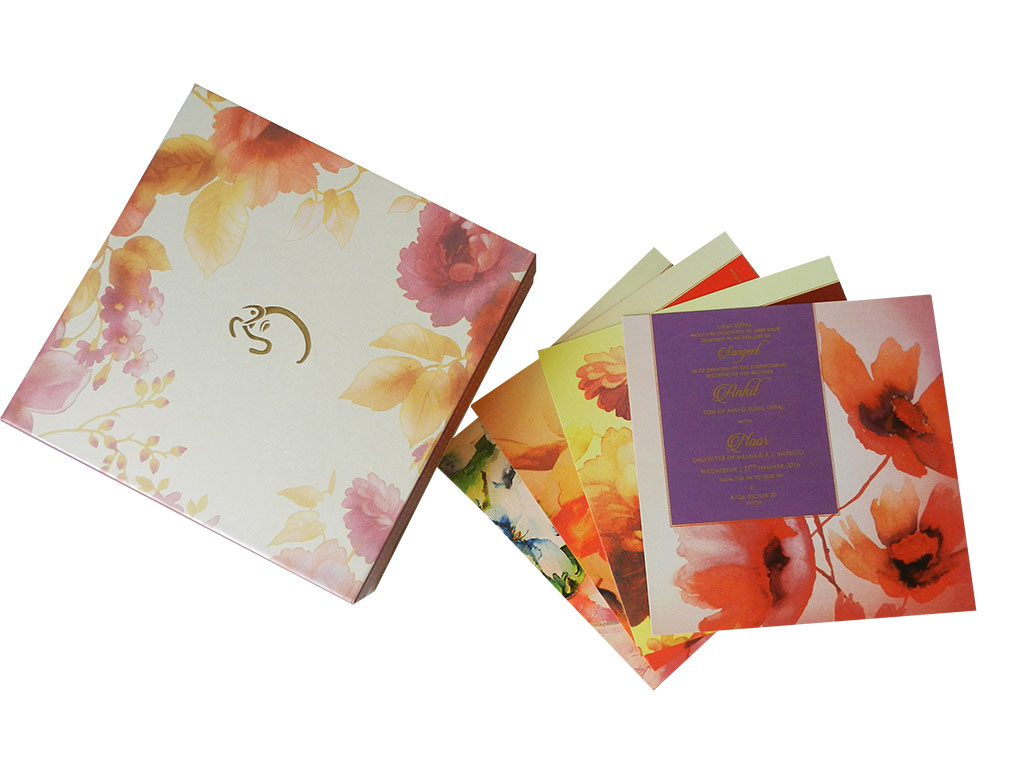 Golden Pink Boxed Indian Wedding Card