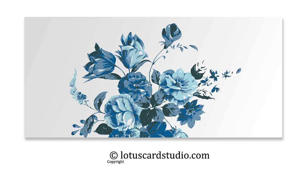 Vibrant Blue Floral Money Gift Envelope