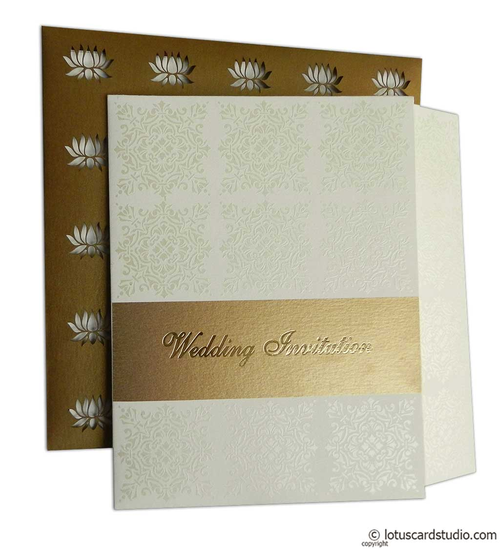 Golden Wedding Invite with Laser Cut Lotus Design