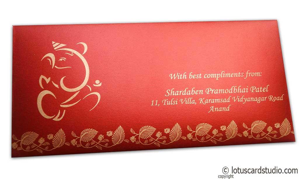 Floral Indian Shagun Envelope in Red