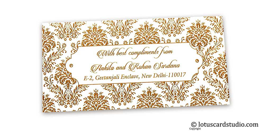 Golden Designer Floral Gift Tag on Ivory