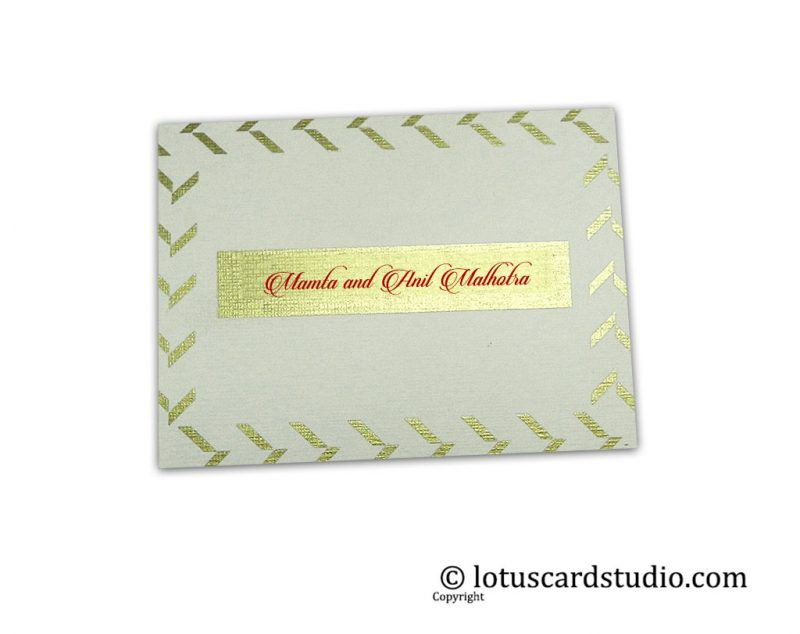 Ivory and Golden Theme Gift Label Tag with Golden Designer Frame