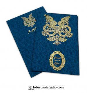 Floral Flocked Designer Wedding Invitation Card in Blue