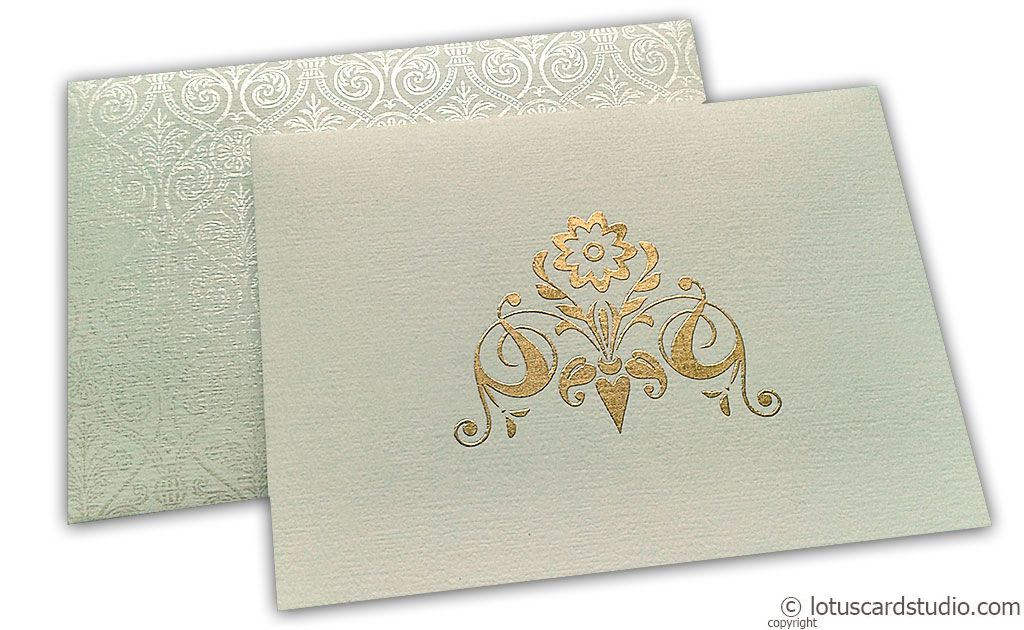Thank you Card in Ivory Textured with Golden Symbol