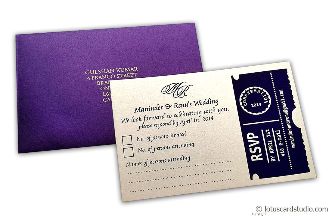 RSVP Card in Imperial Purple and Ivory