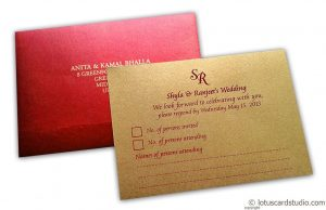 RSVP Card in Red and Golden