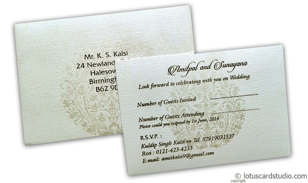 RSVP in Ivory with Golden Crown Design