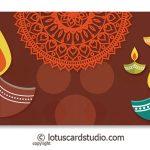Front of Colorful Diyas Brown Shagun Envelope