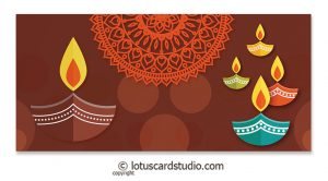 Front of Colorful Diyas Brown Shagun Envelope