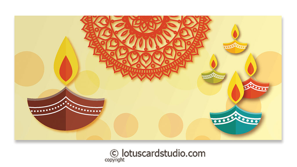 Front of Colorful Diyas Cream Shagun Envelope