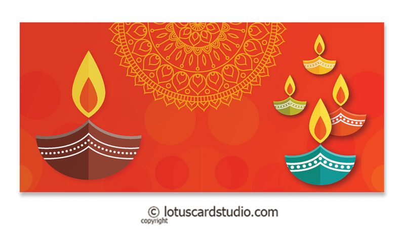 Front of Colorful Diyas Orange Shagun Envelope