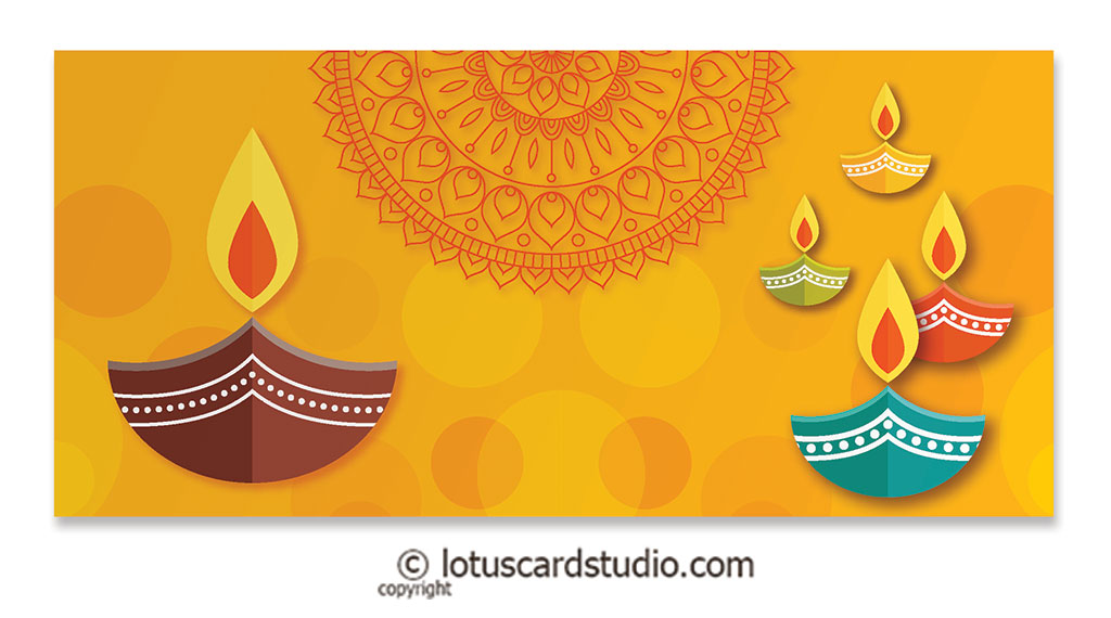 Front of Colorful Diya Golden Shagun Envelope