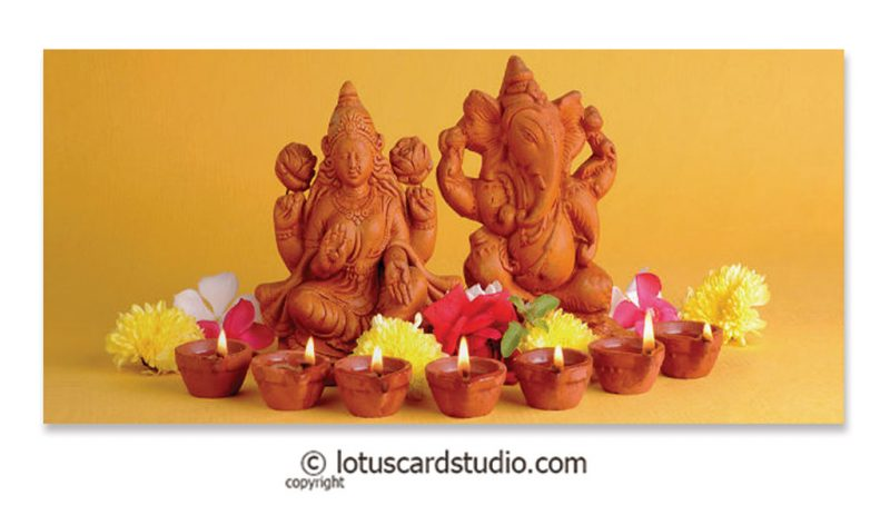 Front of Shagun Envelope with Lakshmi and Ganesha