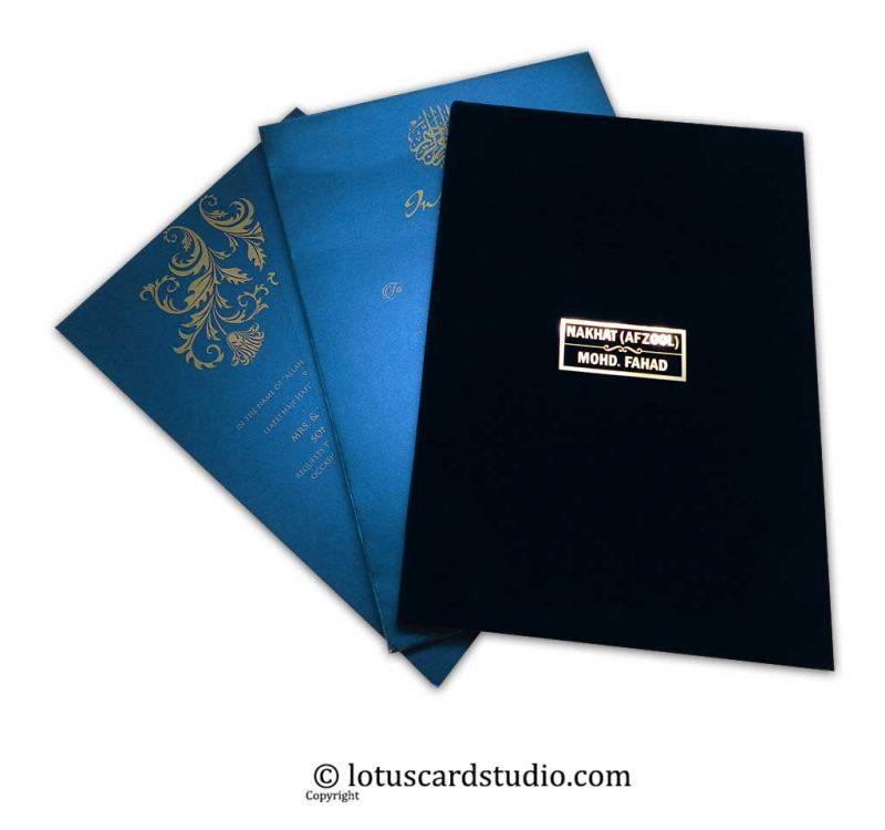 American Folk Velvet Blue Wedding Invitation with Metallic Names