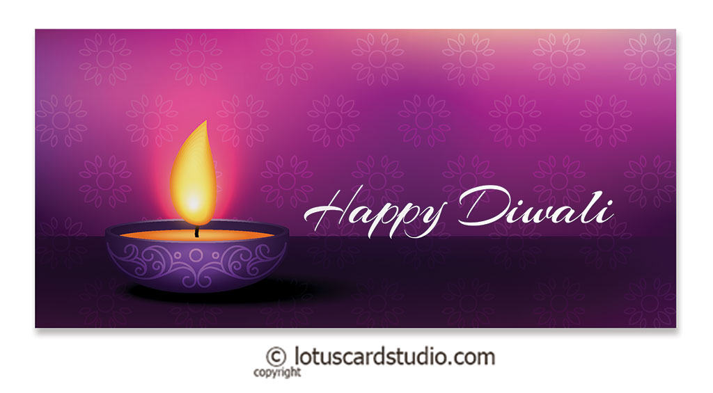 Front of Diwali Money Envelope in Purple with Diya