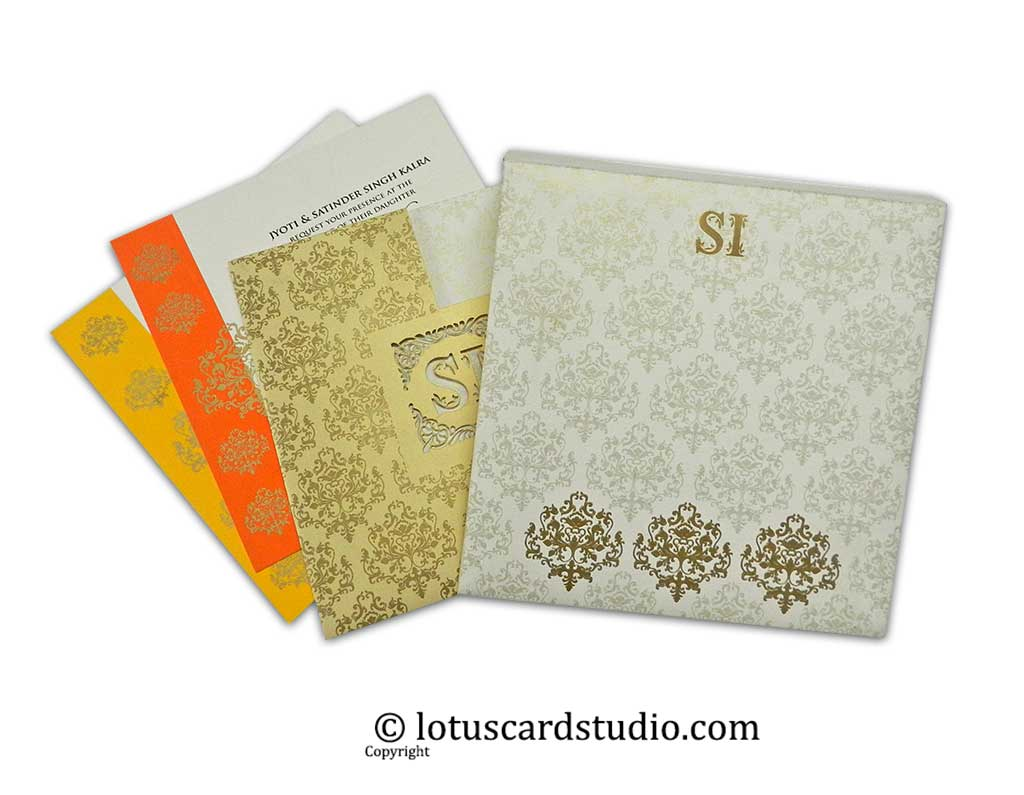 Laser Cut Indian Wedding Invitation in Ivory and Golden Theme