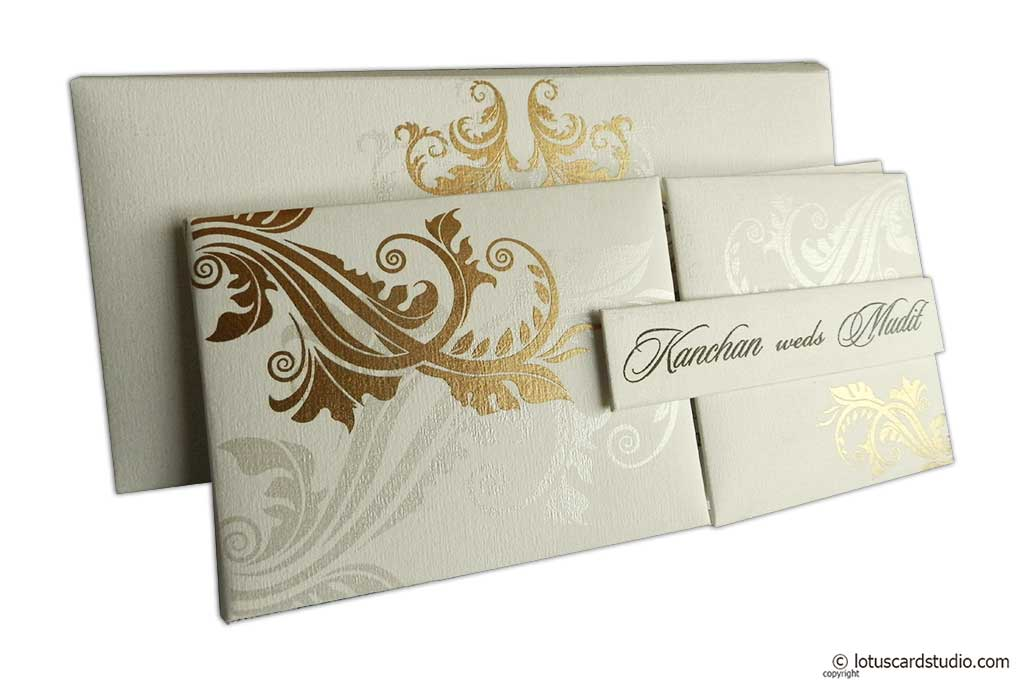 Ivory Magnetic Dazzling Wedding Invitation with Golden Flower Design
