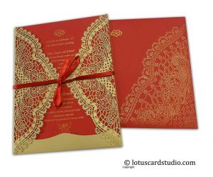 Laser Cut Red and Golden Wedding Card with Ribbon