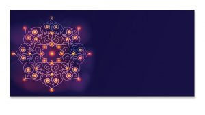 Front of Lighting Rangoli Purple Money Envelope