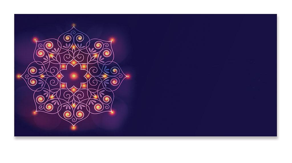 Front of Lighting Rangoli Purple Money Envelope
