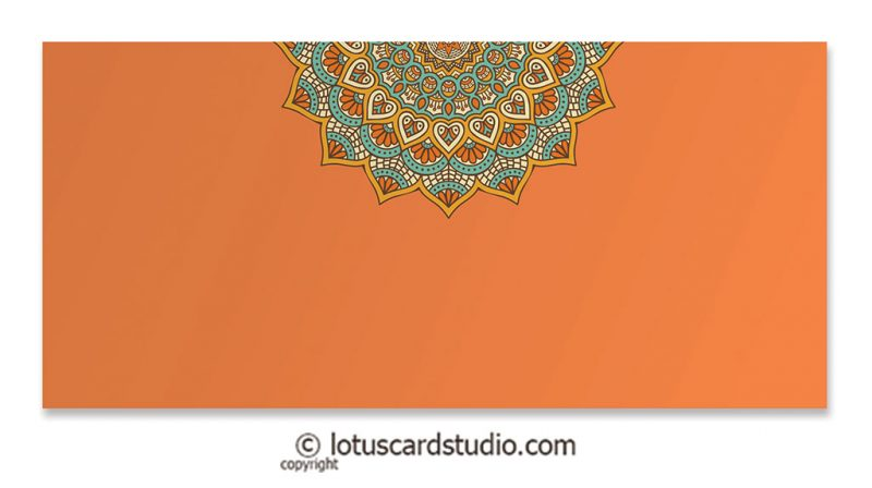 Front of Orange Gift Envelope with Shaahi Mosaic Art
