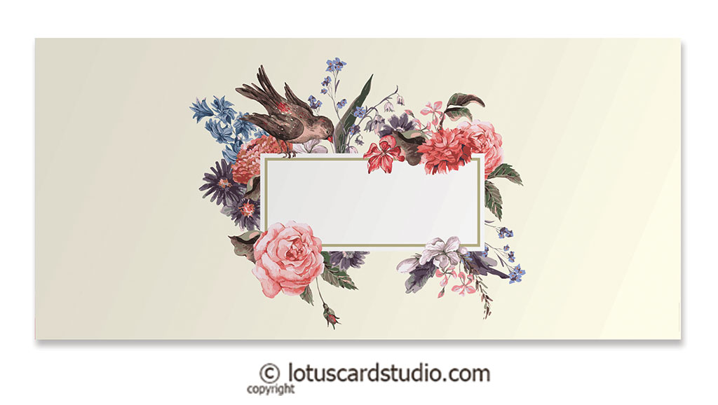 Front of Money Gift Envelopes with Bird and Vintage Flowers