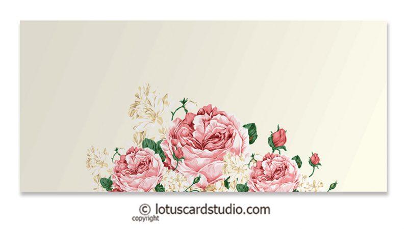 Front of Pink Vintage Floral Gift Envelopes in Ivory