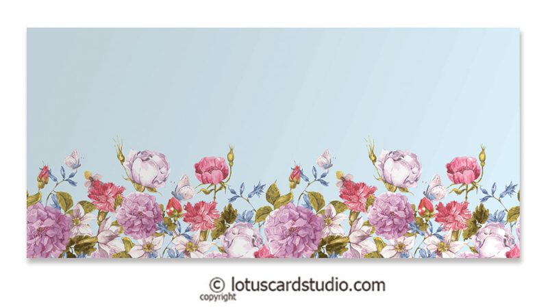 Front of Multicolor Vintage Flowers on Sky Blue Theme Gift Envelope