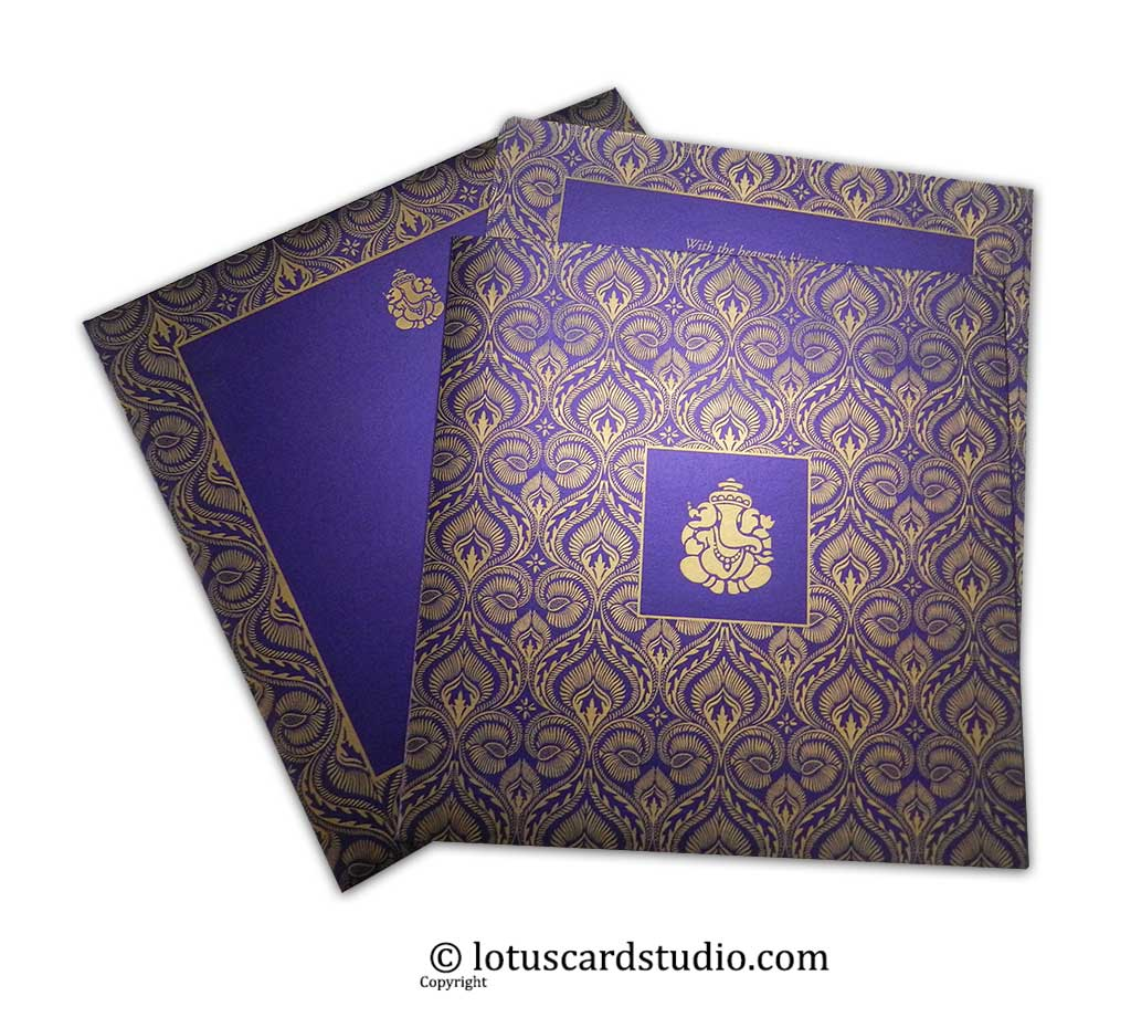 Purple and Golden Designer Curly Floral Wedding Invitation