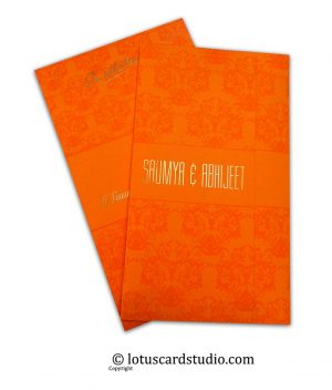 Vibrant Orange Double Fold Wedding Invitation