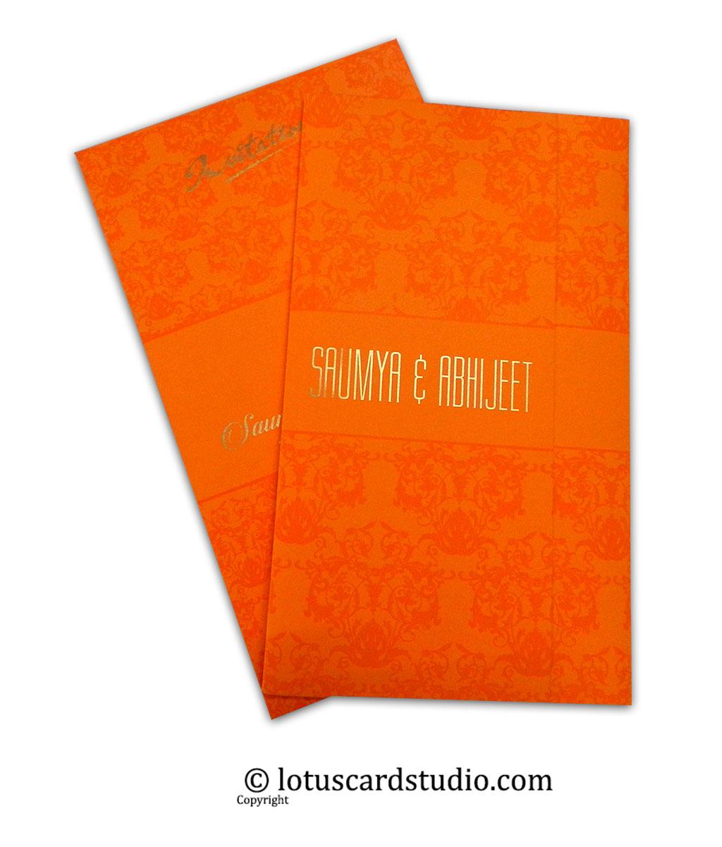 Vibrant Orange Double Fold Wedding Invitation