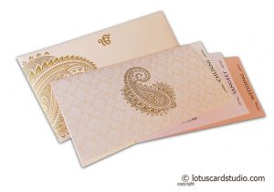 Gorgeous Wedding Card in Peach and Golden Theme