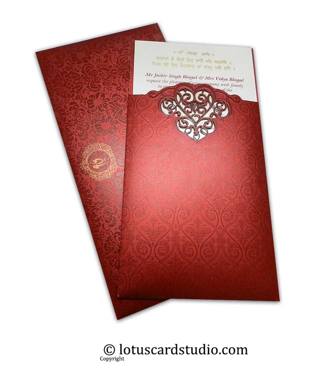 Laser Cut Red Wedding Invitation with Pull-out Inserts