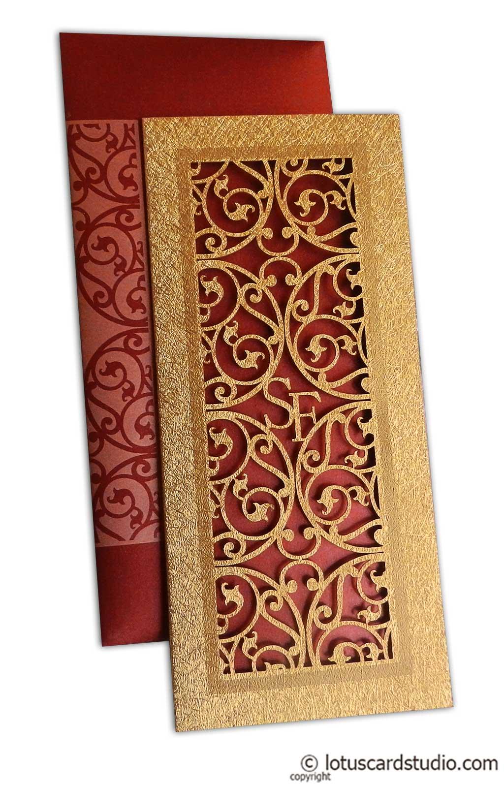 Laser Cut Wedding Card in Royal Red