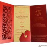 Card inside of Laser Cut Wedding Card in Royal Red