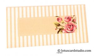 Front of Peach Ivory Combo Vintage Floral Envelope