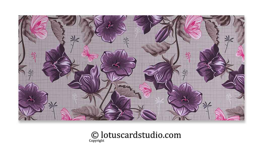 Front of Pink and Purple Fusion Floral Gift Money Envelope