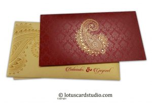 Gorgeous Wedding Card in Royal Red and Golden Theme