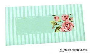 Front of Envelope in Sky Blue with Vintage Florals