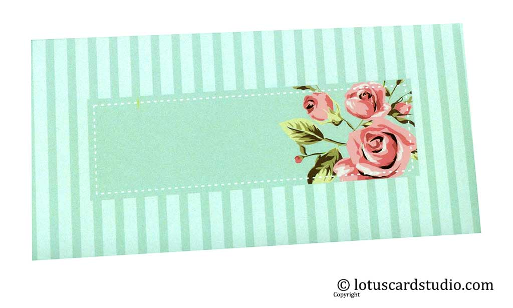 Front of Envelope in Sky Blue with Vintage Florals