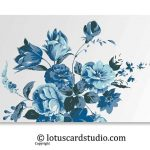 Front of Vibrant Blue Floral Money Gift Envelope