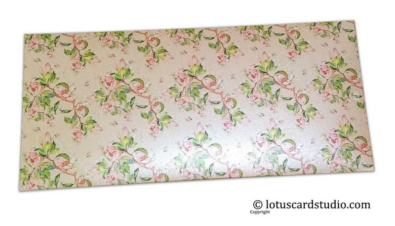 Front of Beautiful Peach and Pink Floral Gift Envelope
