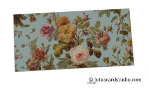 Front of Blue Vintage Floral Shagun Envelope