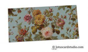 Front of Blue Vintage Floral Shagun Envelope