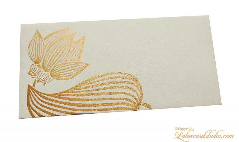 Golden Lotus Flower Money Gift Envelope in Ivory
