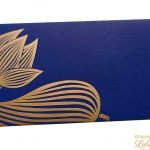 Golden Lotus Flower Printed Money Gift Envelope in Indigo