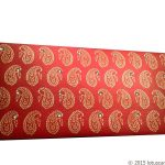 Front view of Paisley Theme Shagun Envelope in Royal Red