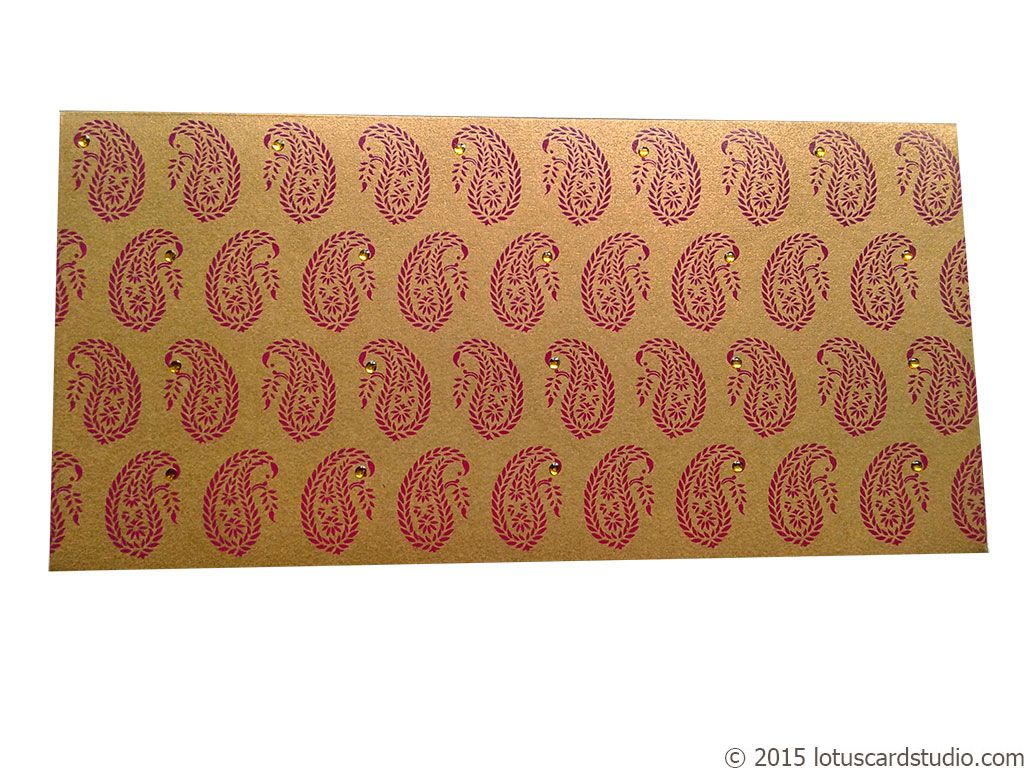 Front view of Paisley Theme Shagun Envelope in Pure Gold