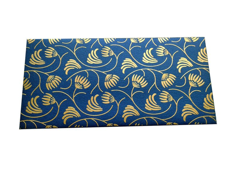 Front view of Gift Envelope with Waving Flower Theme in Imperial Blue